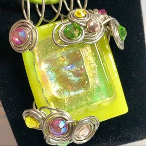 Green Dichroic Glass Pendent